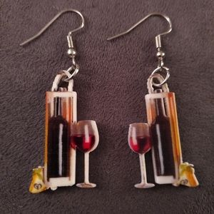 New - Earrings - Bottle and glass of wine